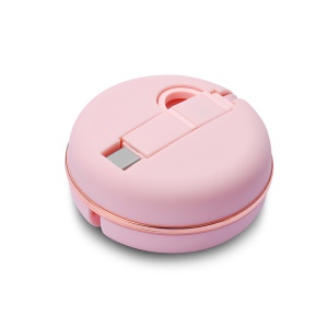 1M Macaron Retractable USB Cable 2-in-1 Type-c + Micro USB Sync & Charge Adapter Cable - Pink