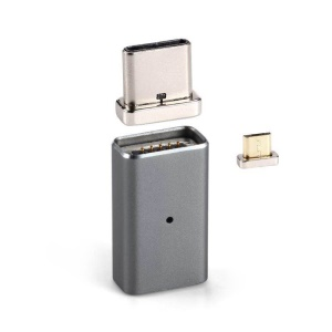 Magnetic Portable Quick Connect Micro USB Adapter Converter for Micro USB Data Sync Charge Cable - Grey