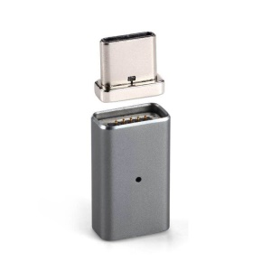 Magnetic Portable Quick Connect Type-C Adapter Converter for Type-C Data Sync Charge Cable - Grey