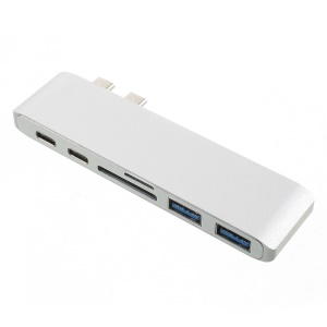 """6 in 1 Aluminum Type C Hub Adapter SD/TF Card Reader with 2 USB 3.0 Ports for MacBook Pro 13"""" & 15"""" 2016/2017 - Silver Color"""