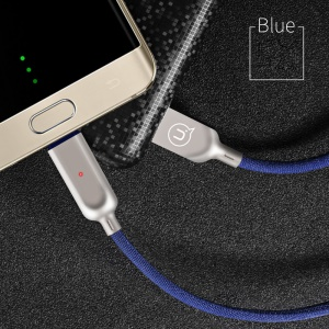 USAMS US-SJ179 LED Light Auto Power Off Micro USB Data Cable for Samsung Huawei Sony - Blue