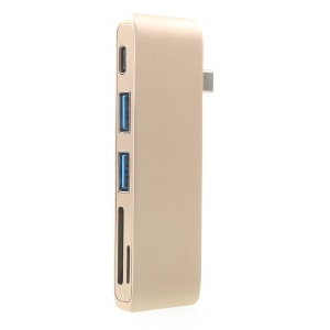 Type-C Hub USB Type-C to USB3.0/Type-C/MicroSD/SD Card Reader Adapter - Gold Color