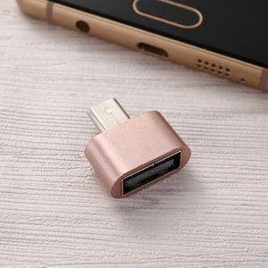 Micro USB Male OTG to USB Female Adapter - Rose Gold Color
