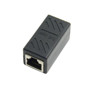 CY CA-028 CAT6 RJ45 Female to Female LAN Connector Ethernet Network Cable Extension Adapter with Shield - Black