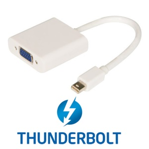 CY TB-003 Thunderbolt Port to VGA Female Adapter Cable for Projector / Monitor - White