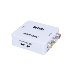Convenient HDMI to AV Audio Video Mini Converter Adapter Full HD 720P 1080P with USB Cable - White