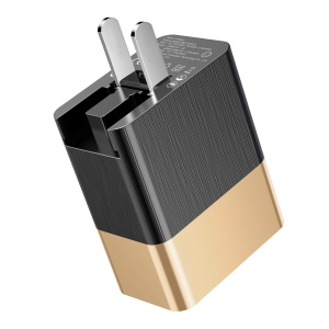 BASEUS 15W PD Type-C Quick Charge + 5V/2.4A USB Port Travel Adapter for MacBook Pro etc. - Gold Color / CN Plug
