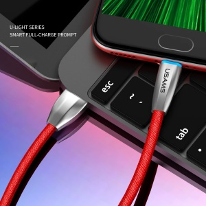 USAMS US-SJ183 2A LED Light Micro USB Data Cable for Samsung Huawei Sony – Red