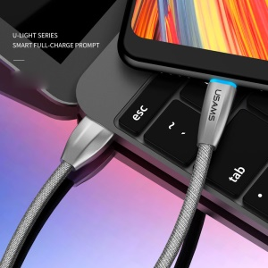 USAMS US-SJ184 1.2M Woven Fabric Type-C Charger Cable for Samsung Note 8/Huawei Mate 10/Mate 10 Pro etc. - Grey