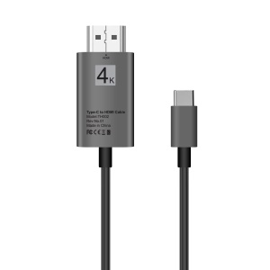 2M USB Type-C to HDMI Adapter Cable Support 4K for Samsung Galaxy S8/S8+/Note 8 LG G5 etc. - Grey