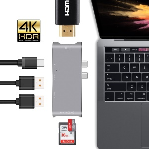 Dual Male USB Type-C Hub Adapter to 4K HDMI Port + SD/TF Card Slots + 2 USB 3.0 Ports + Type-C Female Port