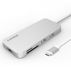 LENOVO C107 7-in-1 USB Type C Hub Adapter to HDMI+USB 2.0+2 USB 3.0 Ports+Type-C PD Input+SD/TF Card Reader - Silver