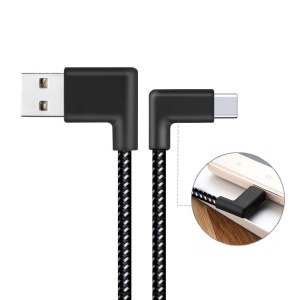 90 Degree Right Angle Type-C Data Sync Charge Cable 2m for Samsung Galaxy S8/Huawei Honor V10 etc.