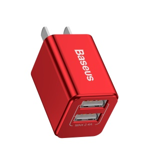 BASEUS Traveler Series Portable 2.4A Double USB Wall Charger for Cell Phone Tablet - CN Plug / Red