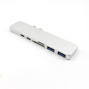 Dual USB-C HUB with 4K HD Type-C PD Charging SD TF Card reader for Macbook Pro