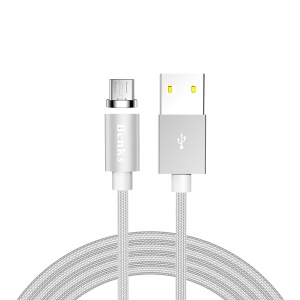 BENKS D21 Magnetic Micro USB Charging Cable Cord with LED Indicator 1.2m for Samsung Sony etc. - Silver
