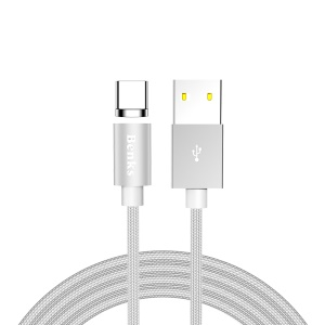 BENKS D21 Magnetic Type-C Charging Cable Cord with LED indicator 1.2m for Samsung Huawei etc. - Silver