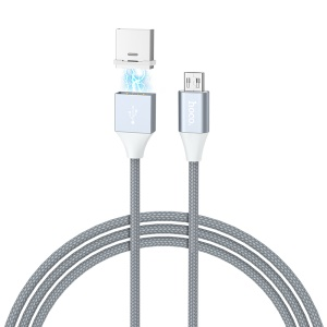 HOCO U40B 1m 2A Magnetic Micro USB Braided Data Sync Charge Cable for Samsung Huawei Etc.