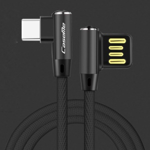 CASEME 1.8M Double Elbow Reversible Type-C USB Data Sync Charge Cable for Samsung Huawei LG - Black