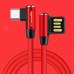 CASEME 1.8M Double Elbow Reversible Type-C USB Data Sync Charging Cable for Samsung Huawei LG - Red