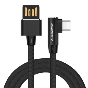 CASEME 1.0M Reversible Double Elbow Micro USB Data Sync Charge Cable for Samsung Huawei LG - Black