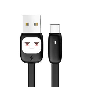 USAMS US-SJ233 2A Candy Color Cartoon Type-C Charge Data Sync Flat Cable 1.2m - Black