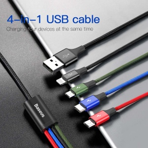 BASEUS Fast 3.5A 1.2m Lightning 8 Pin + Type C + Dual Micro USB 4-in-1 Data Charge Cable