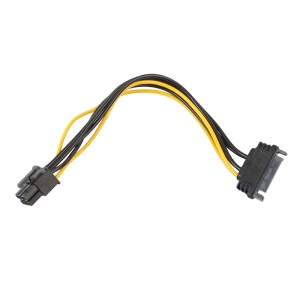 15Pin SATA Power to 6Pin PCIe PCI-e PCI Express Adapter Cable for Video Card