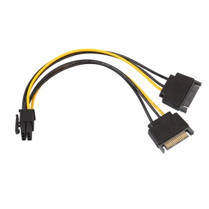Dual SATA 15Pin Male to PCI-e 6 Pin Female Video Card Power Cable