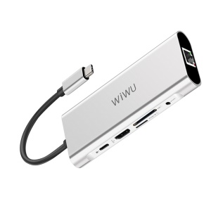 WIWU A931HRT 9-in-1 Aluminum Adapter with USB-C Charging, Mic/Audio Port, HDMI for MacBook Pro - Silver