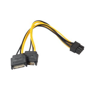 Dual Two SATA 15 Pin Male to PCI-e 6 Pin Female Video Card Power Cable