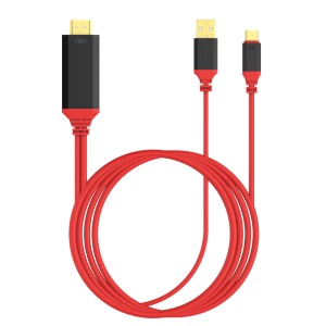 USB-C Cable, 2-in-1 Type-C HDMI HD Video Audio Cable Charging Cable - Red