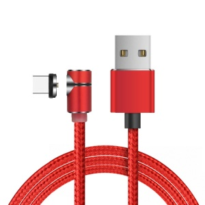 90 Degree L Type LED Magnetic Charging Cable Nylon Braided Cord for Smartphones with USB Type-C Port - Red
