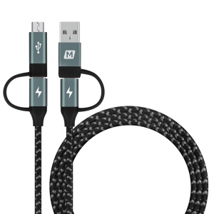 MOMAX 4-in-1 Type-C to Micro USB & Type-C to USB A Charging and Data Sync Nylon Braided Cable