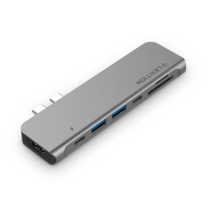 LENTION CS64THCR Dual-USB-C Zu USB3.0x2 + HDMI + SD & TF + USB-C + Thunderbolt 3-Konverter - Grau