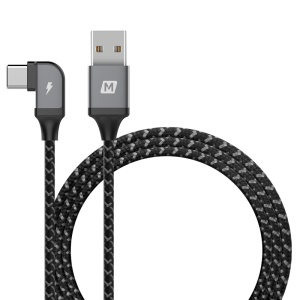 MOMAX One Link L-shape Type-C to USB Cable Support Data Sync and Charge 1.2m - Dark Grey