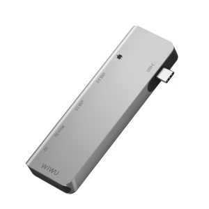 WIWU Apollo A521T USB Type-C Hub 5-in-1 Type-C Adapter Hub with 2 USB 3.0 Ports, SD and TF Card Slot and PD Charging Port - Silver