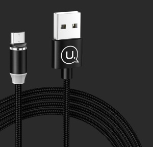 USAMS 1m US-SJ294 Magnetic Micro USB Woven Charging Cord for Samsung Sony Huawei - Black