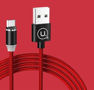 USAMS 1m US-SJ293 Magnetic Micro USB Woven Charging Cable for Samsung Sony Huawei - Red