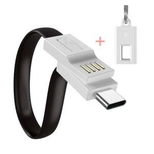 FLOVEME Portable Keychain Type-C Data & Charge Cable for Xiaomi Samsung, etc - Black
