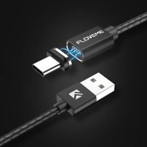 FLOVEME Type-C Magnetic Charging Data Sync Cable with LED Light 1m - Black