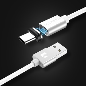 FLOVEME Type-C Magnetic Charging Data Sync Cable with LED Light 1m - White
