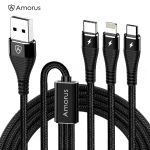 AMORUS 1.2m 3-in-1 Lightning 8 Pin + Micro USB + Type-C Charge Cable - Black