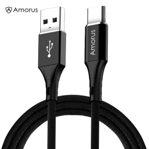 AMORUS 1m 2.4A Aluminium Alloy Nylon Braided Type-C Charging Data Cable for Samsung Huawei, etc - Black