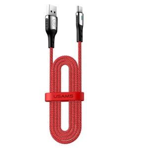 USAMS US-SJ319 U27 Type-C 5A Flash Charge Data Sync Nylon Braided Cable 1.2m - Red