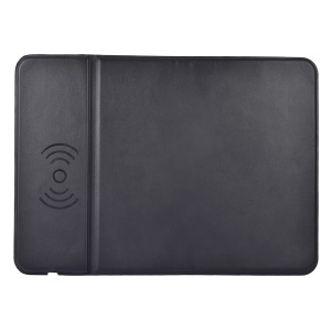 Desktop Wireless PU Leather Mouse Pad Charger Anti-slip Quick-charging Mat - Black
