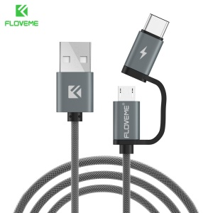 FLOVEME 2 in 1 QC3.0 micro Type-C Fast Charge Cable Flash Charging for Android Smartphones - Grey
