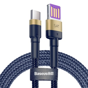 BASEUS Cafule HW Quick Charging Type-C Data Cable 40W Nylon Braided Charging Cord 1m - Gold / Blue