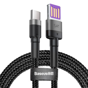 BASEUS Cafule HW Quick Charging Type-C Data Cable 40W Nylon Braided Charging Cord 1m - Grey / Black