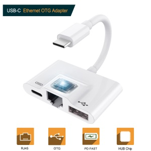 Typ C Auf RJ45 Ethernet OTG Adapter LAN Karte Ethernet USB OTG HUB HD Video Adapter - Weiß